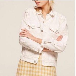 Reformation white denim jacket
